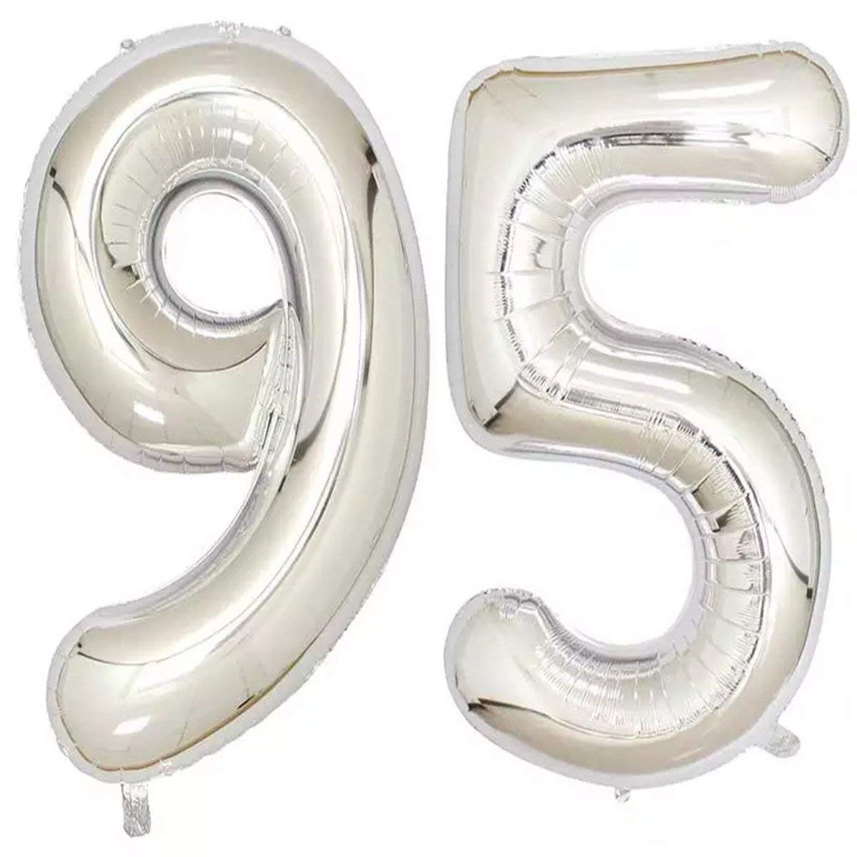 Get Quotations 40inch Silver Foil 95 Helium Jumbo Digital Number Balloons 95th Birthday Decoration For Women Or
