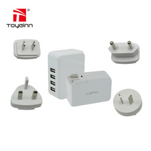 4-Plug USB Travel Charger Adapter 4.2A Wall Charger US UK AU EU Interchangeable Plugs For iPhone 7 Plus iPad Samsung S8