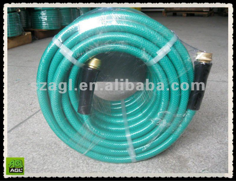 3 layers pvc 5/8 inch 50 feet medium duty green garden hose with brass couplings and plastic sleeves