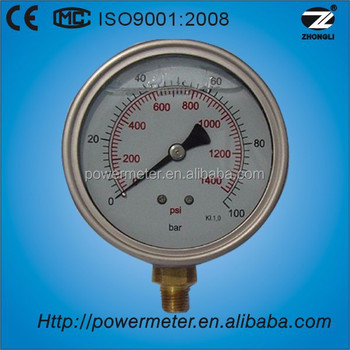 Steam Boiler Oil Filled Bourdon Tube Pressure Gauge Double Scale 100 ...