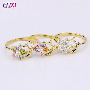 Fashion Jewelry Wholesale China Supply Zirconia 18K Gold Ring