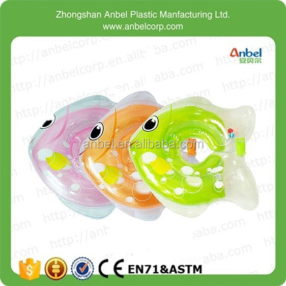 2015 New Adjustable Fish Shape Inflatable Baby Swimming Assist Neck Float Ring