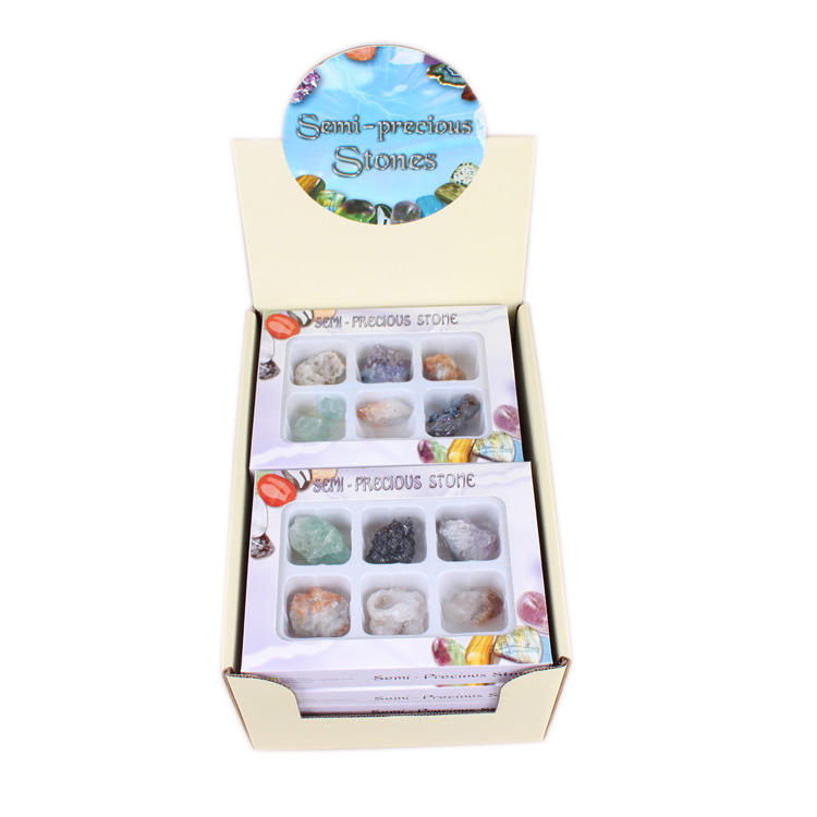 Yase 10 box semi-precious stone gifts & crafts natural rough gemstone newest colour stone wholesale <strong>craft</strong> stone
