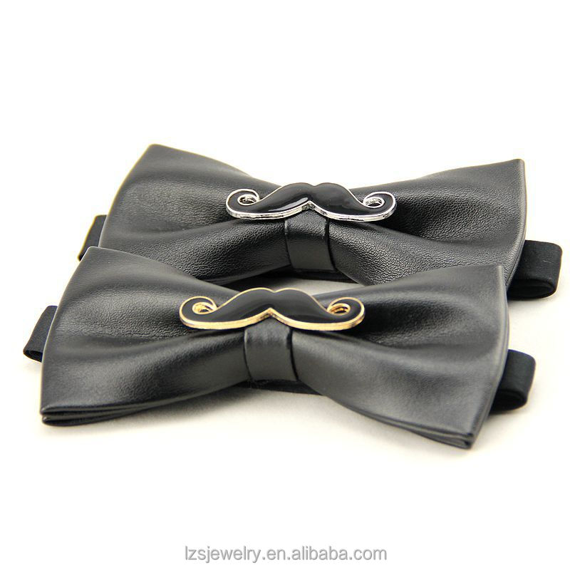 PU Leather Cute Beard Design Italian <strong>Ties</strong> For Men Flashing Bow <strong>Tie</strong>