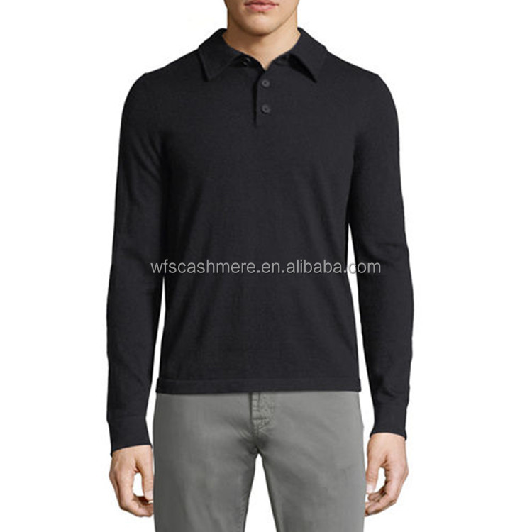 New style 100% cashmere polo neck men pullover with button