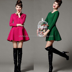 European style autumn three quarter sleeve red ladies new fashion tent dress