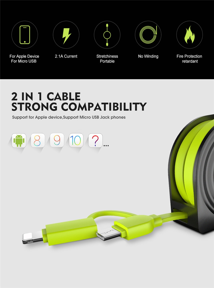 Free Shipping RAXFLY 2In1 One Way Pull Retractable Usb Cable For Apple For Micro Usb Devices