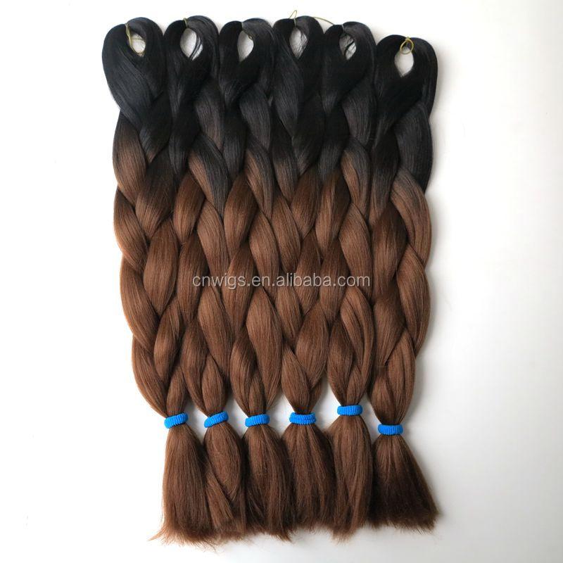 10 pcs 100 gpc 24 noir auburn synthtique ombre deux tons couleur jumbo - Coloration Marron Miel