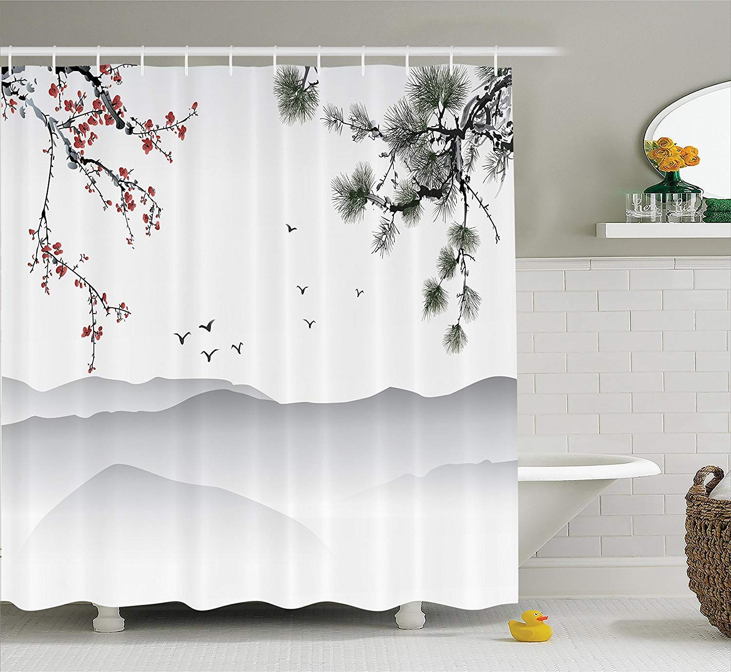 Merveilleux Get Quotations · Shower Curtain House Decor Set, Chinese Painting Style  Artwork With Tree Branches Birds Mountains Landscape