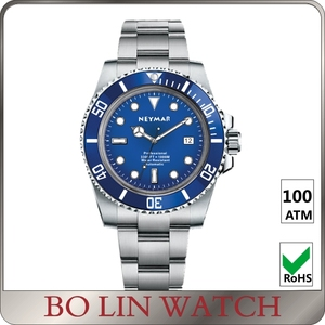Dive watch 100 meters water resistant full stainless steel bezel for diving