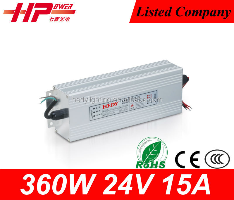 CE RoHS high frequency waterproof constant voltage single output 15a 360w 24v ac dc regulated switch mode power supply