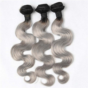 Body Wave Hair Weft T1B/Grey Ombre Color Remy Human Hair Weaving Bundles
