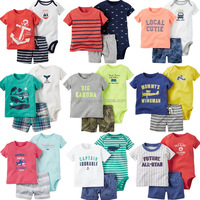 3pcs 100%cotton unisex baby bodysuits matching with shorts and t-shirts