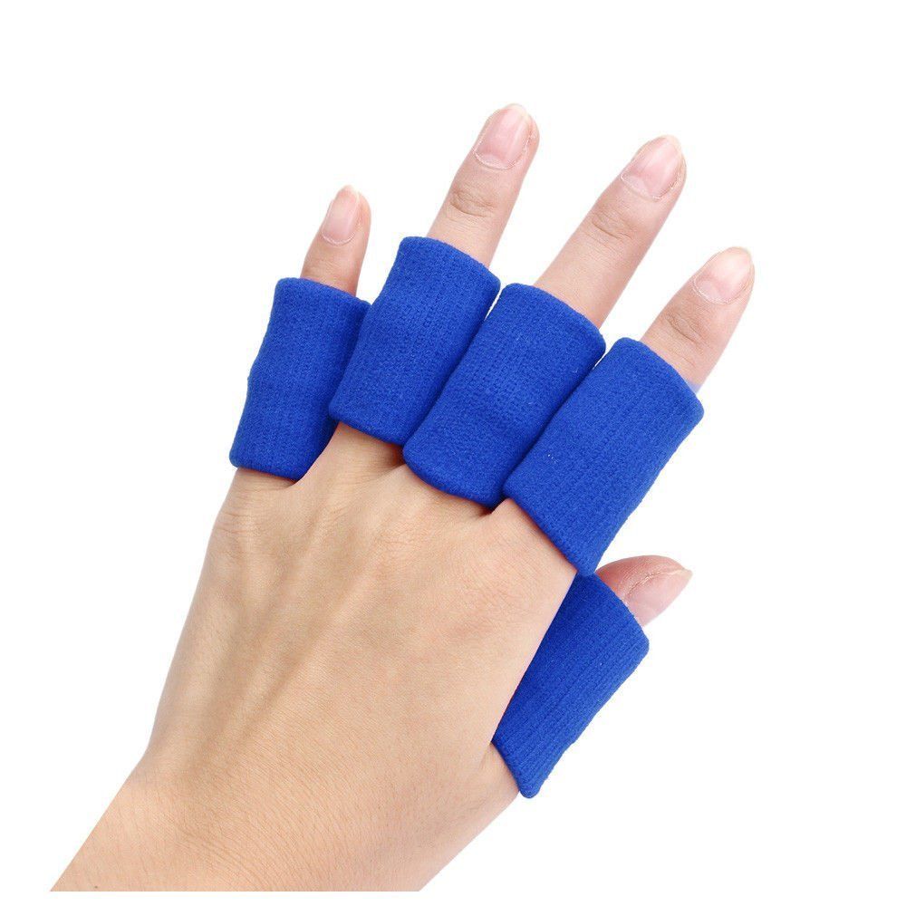 Finger Guard Sleeves - TOOGOO(R)Portable 10pcs Stretch Sports Basketball Finger Guard Support Sleeves Protector blue