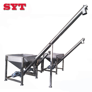 Stable performance spiral conveyor transport sugar / salt / flour stainless steel hopper screw conveyor