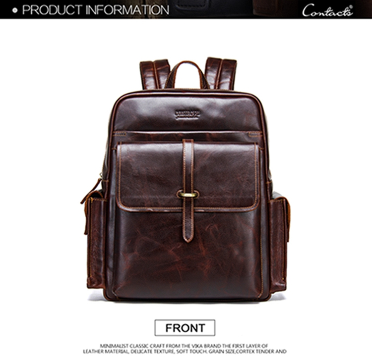 dropshipping contact's 2019 genuine leather laptop backpack shoulder bag for men