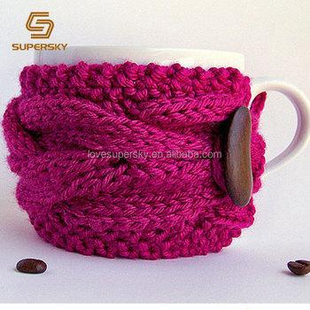 A475 Crochet Cable Knitting Tea Cup Sweater Sleeve Warmer Mug Cozy