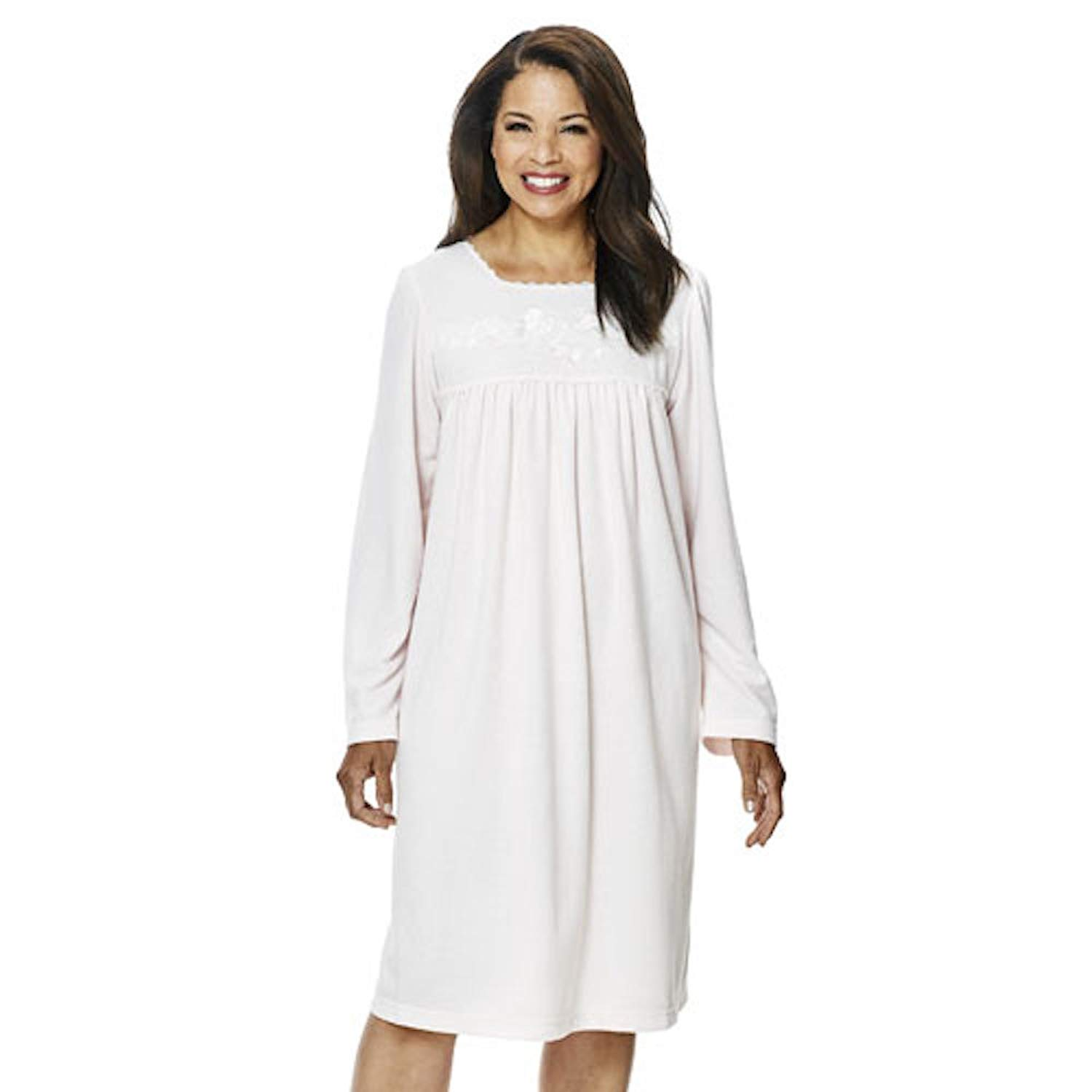 Get Quotations · Miss Elaine Petite Women s Brushed Inside   Out CuddleKnit  Nightgown 65% Polyester 35% Rayon 7d875cc5f