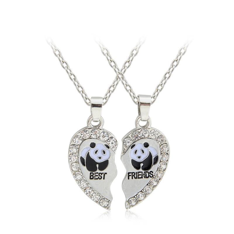 """40015b4865 2 pcs/set Broken Heart 2 Parts Animal Panda """"best friend"""" Couple Necklace"""