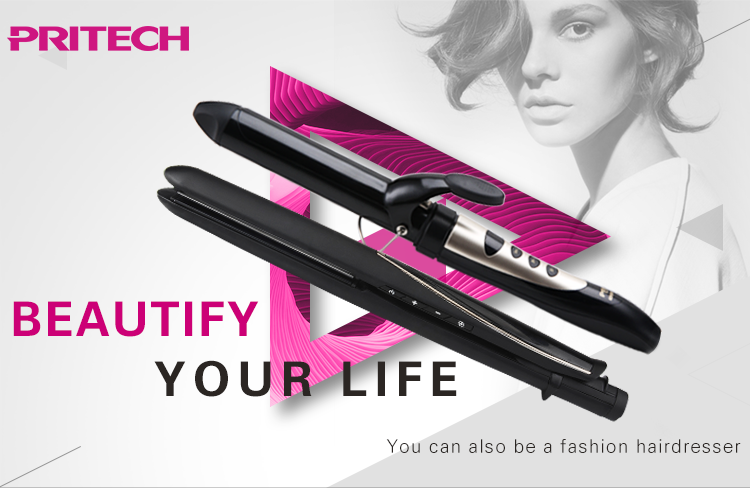 PRITECH Professional New Style 2 In 1 Hair Straightener And Curler Brush