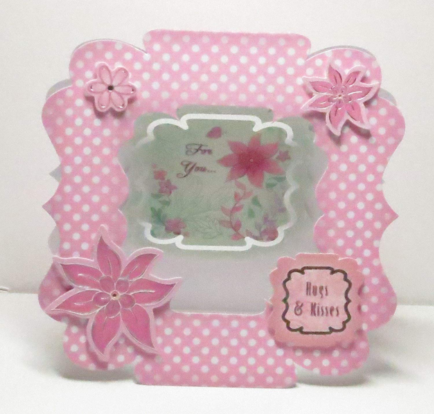 Handmade 3D Pink Flowers Fancy Shaped Hugs & Kisses For You Fancy Aperture Greeting Card with Silver Foiling & Pink & White Polka Dots & Light Green - 1 in stock, 2 made to order