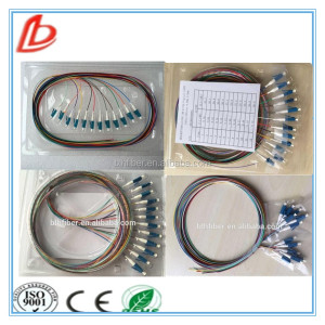 12color 0.9mm lc/upc sm bundle fiber optic pigtail length 2m,12core lc fiber cable pigtail