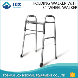 High quality silver folding height adjustable lightweight 1.2mm thickeness Aluminum 2 wheel exercise orthopedic walker