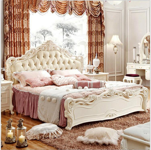 Modern european solid wood bed Fashion Carved 1.8 m bed usa french bedroom furniture OSC6592