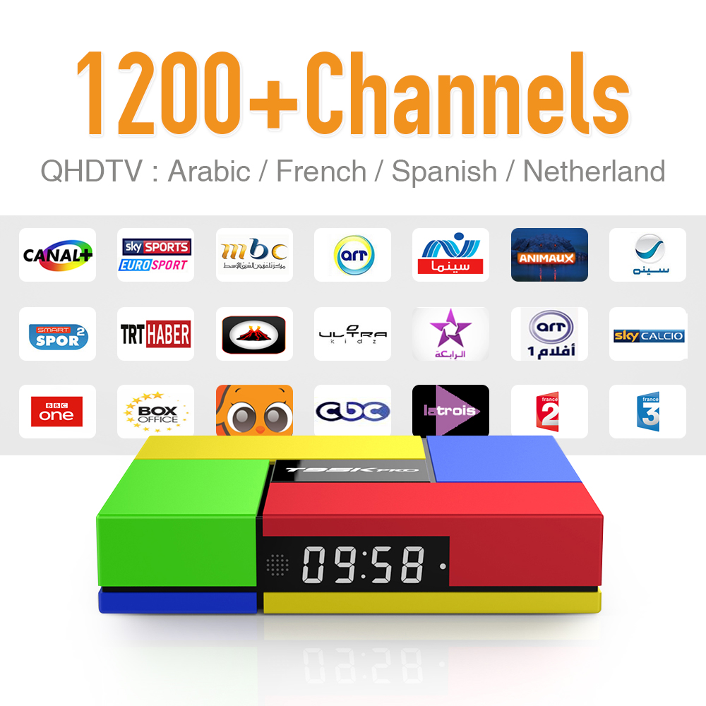 <strong>Tv</strong> <strong>Box</strong> Strong wifi <strong>Android</strong> 6.0 & 1 Year QHDTV 1200 HD Arabic Germany EX-YU Sport Sky IPTV Channels with Bluetooth 4.0 H.265 4K