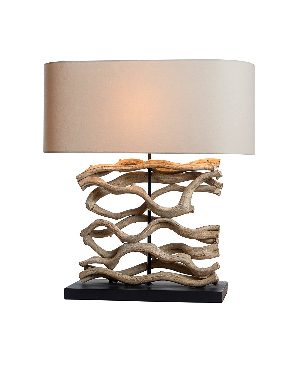O'THENTIQUE Large Driftwood Vine Table Lamp   Natural Turned Twisted Wood Console Lamp with Linen Shade Design for Beach House Cabin Cottage Bedroom Living Room