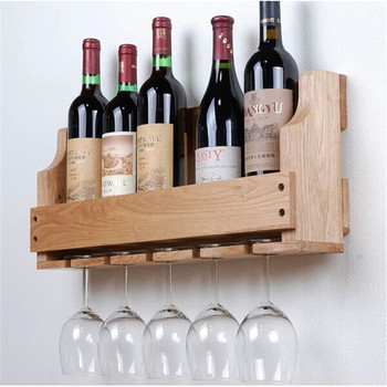 Factory Offer Rustic Wooden Wall Mounted Wine Rack Wine Holder Wine