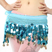Sequins and Golden Coins Belly Dance Hip Scarf / Belly Dance Belt