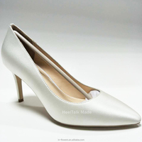 HeelTalk handmade Wholesale high quality white silk material women's bridal wedding dress shoes