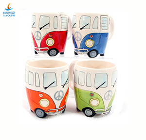 Carton Double Bus originality Mugs Hand Painting Retro Ceramic Cup Coffee Milk Tea Mugs Drink ware Novertly Gifts