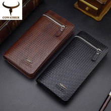 carteira masculina Cowather Brand Genuine Leather  Short Wallets Card Holder Change Pocket Cowhide Leather Designer Wallet