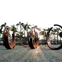 Hand Forged Contemporary Large Outdoor Corten Steel Garden Ring Sculpture Metal Modern Art