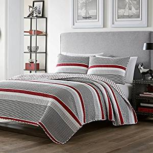 2 piece Boys Twin Red Grey White Rugby Stripes Quilt Set, Striped Horizontal Lines Nautical Pattern, Stripes Coverlet Bedding with Rugby Themed Design with Gray, Beautiful Colors! Anchors on Reverse