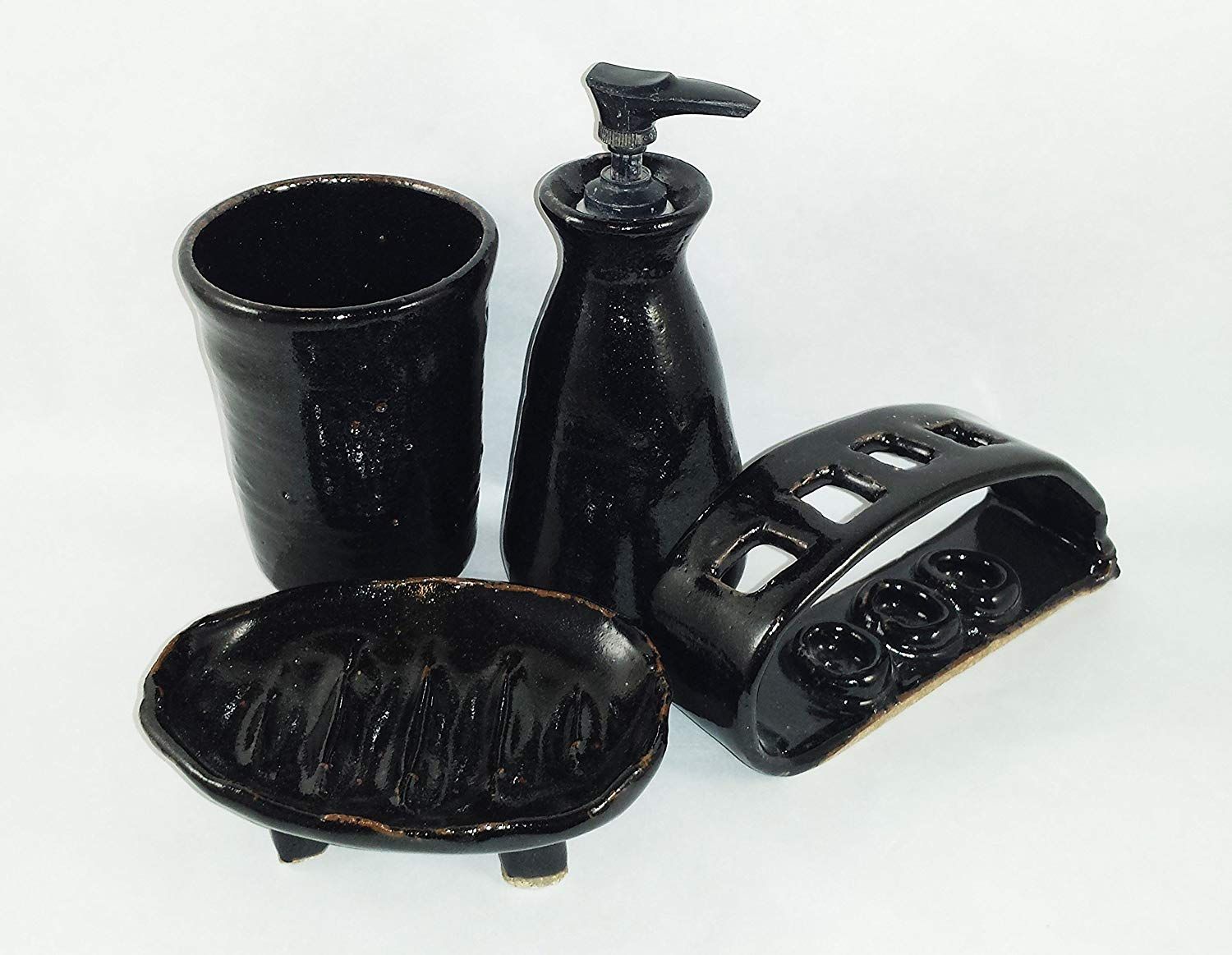 Aunt Chris' Pottery - Hand Made Clay - 4 Piece Bathroom Set - Black Color Glazed - Cup, Lotion Pump, Soap Dish & Toothbrush Holder - Primitive Style - Very Unique - Only Available Here On Amazon!
