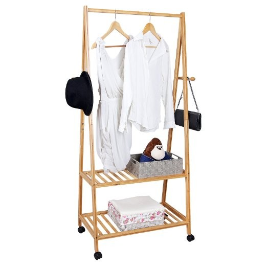 Multi Function Bamboo Garment Laundry Clothes Rack With Wheels 5
