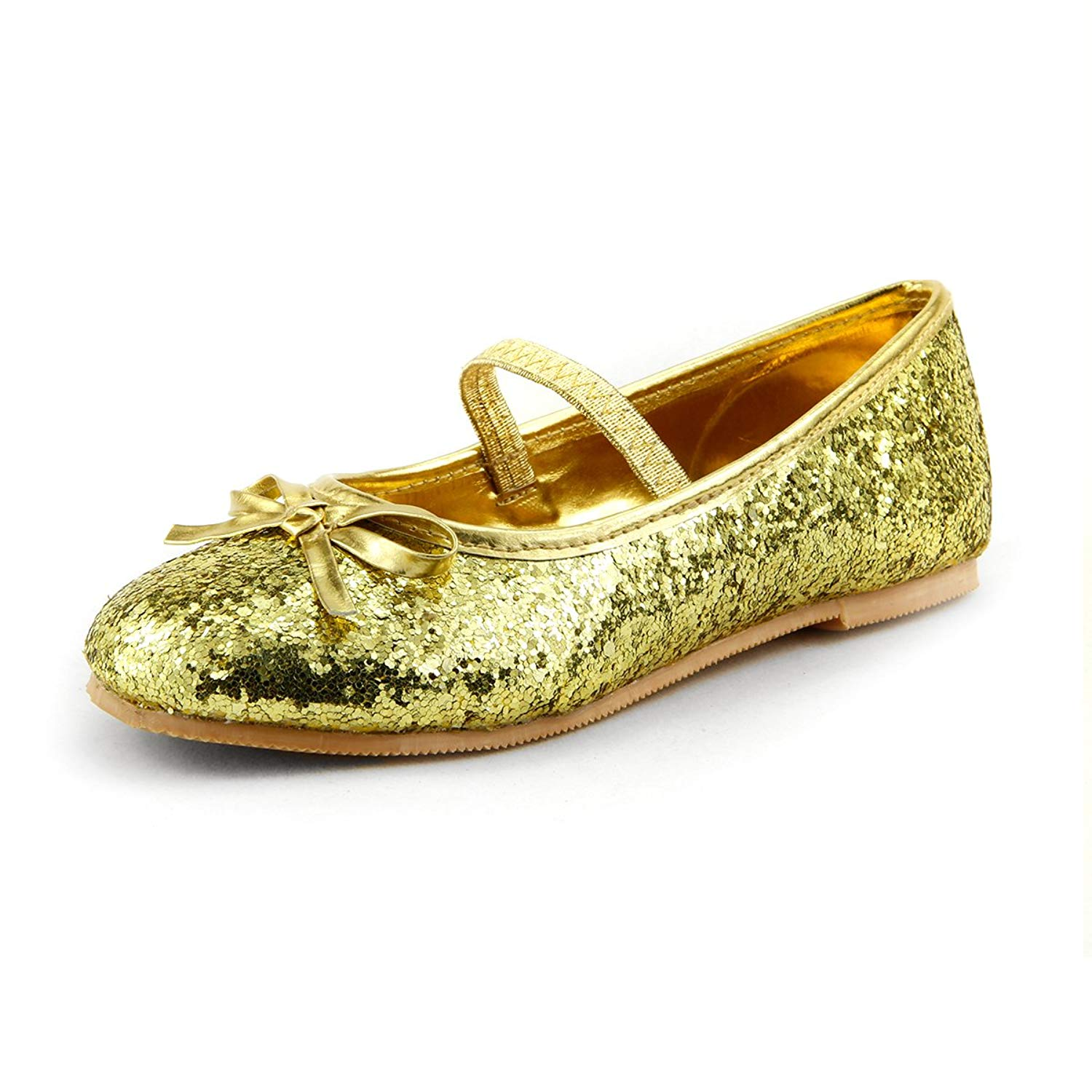 Wedding Flower S Glitter Sparkly Ballet Flat Shoes W Elastic Strap Toddler Size