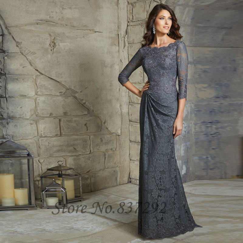 2016 Lace Mermaid Mother Of The Bride Dresses Groom: Grey Navy Llue Plus Size Mother Of The Bride Dresses Lace