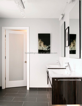 Hot selling white wood frame frosted glass bathroom door