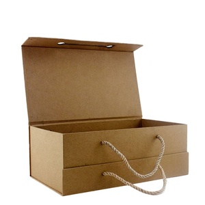 Custom Recycle Kraft Paper Packaging Box, Paperboard Gift Bag with PP Handle