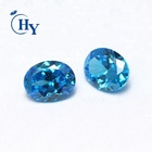 Rough Zirconia Loose Gemstone Wholesale Price Oval Rough Cubic Zirconia Aqua Blue