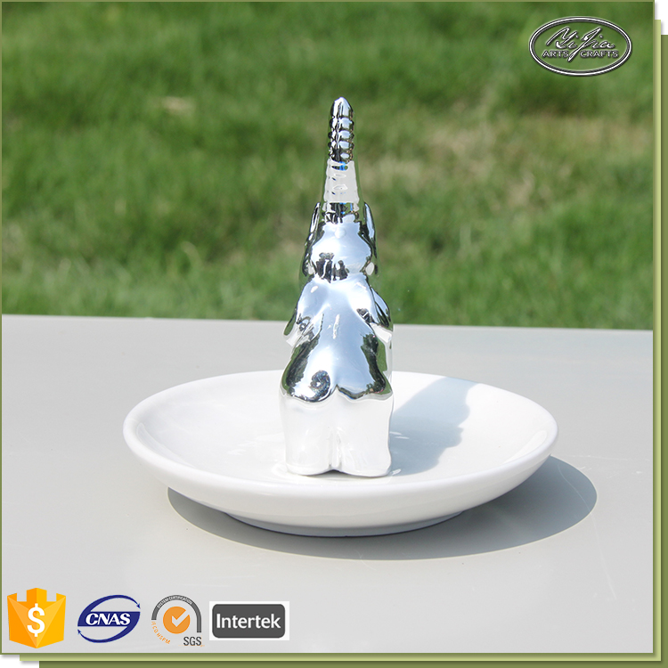 Cute sliver elepant shape ceramic sliver doll earring display stand