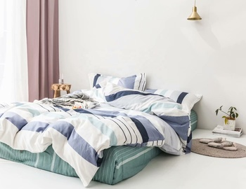 Stripe Cotton Bed Sheet and Duvet Cover Bedding Set with Customized Items and Size