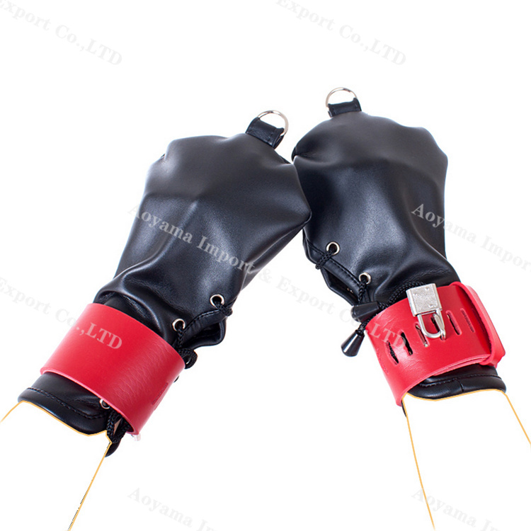 One pair of PU Leather Gloves Bondage Slave Restraints Hand Wrist Cuffs