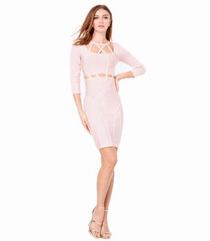 2018 Tamaño Más Característica Y Servicio De Oem Tipo De Suministro De Las Mujeres De La Moda Formal Ropa Rosa Sexy Causal Damas Vestido De Oficina