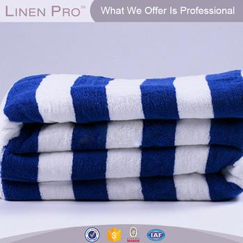 Linenpro 100 Cotton Hotel Pool Towel Blue Stripe Beach With Logo