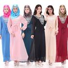 Hot arab dubai abaya women muslim dress pure color long sleeve chiffon islamic clothing